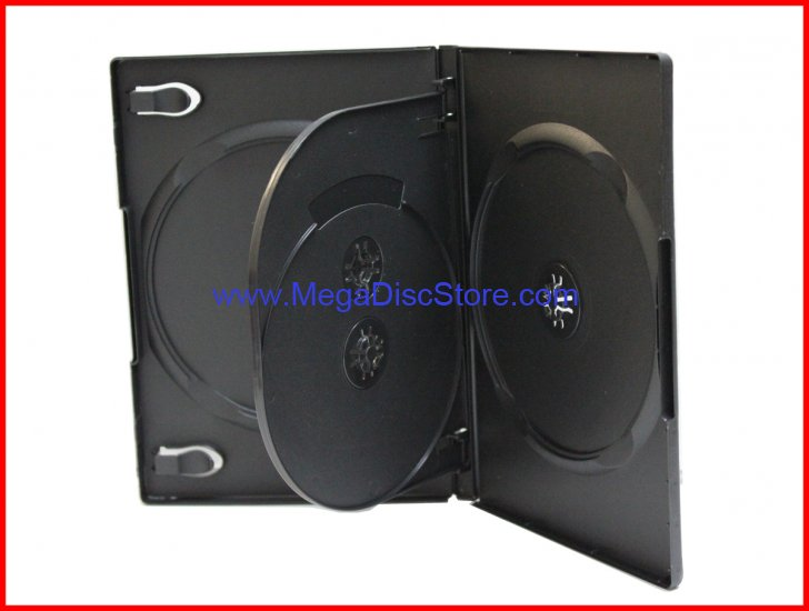 14MM DVD CASE 4-IN-1 BLACK WITH FLAP PREMIUM QUAD BOX HOLDER 4 DISCS MEGADISC BRAND - Click Image to Close