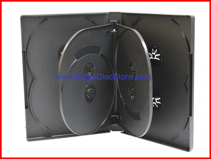 22MM 8-IN-1 DVD CASE BLACK EIGHT TRAY OVERLAP PREMIUM HOLDER BOX MEGADISC BRAND - Click Image to Close