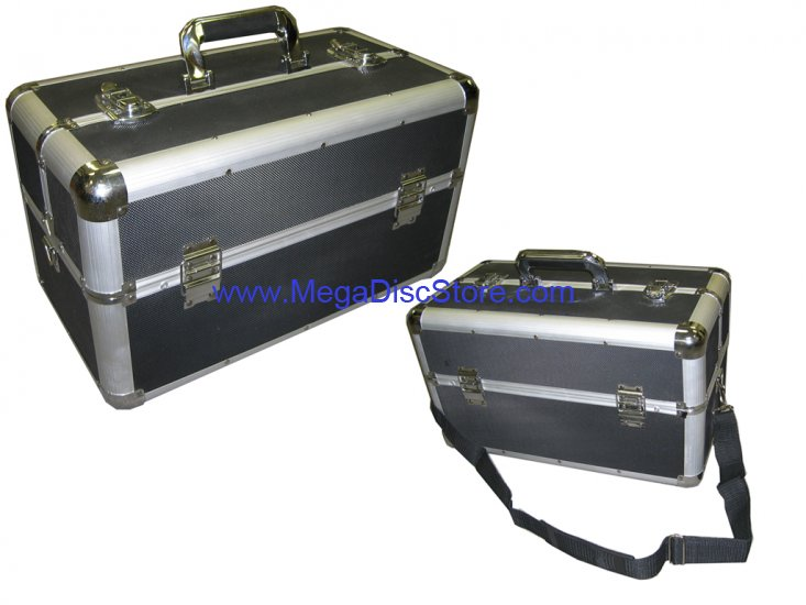 Large Pro Makeup Aluminum Train Case Black Free Shipping - Click Image to Close