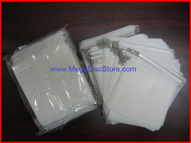 CD/DVD Plastic Index Sleeves with Hook White - Click Image to Close