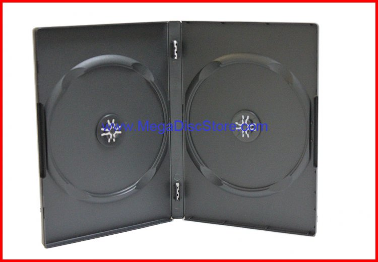 New 100 Pk Premium Black 2 Discs CD DVD Storage Case 14mm Dual Box Holder Standard Size Double Machinable - Click Image to Close