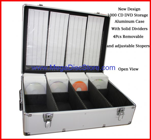 1000 CD DVD Silver Aluminum Media Storage Case Mess-Free Holder Box with Sleeves Free Shipping - Click Image to Close