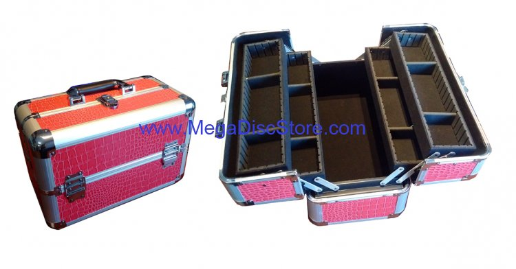 Makeup Train Case Aluminum Cosmetic Jewelry Organizers Pink Artificial Leather - Click Image to Close