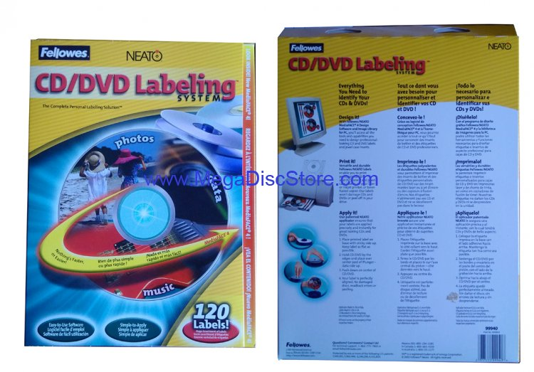 New Fellowes Neato CD DVD Labeling System with 120 Labels and install kit Free Shipping - Click Image to Close