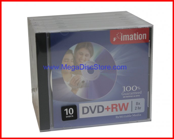 10 Imation 8X DVD+RW ReWritable Blank Disc Storage Media 4.7GB With Jewel Case Free Shipping - Click Image to Close